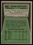 1975 Topps #369  John Outlaw  Back Thumbnail