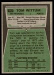 1975 Topps #110  Tom Wittum  Back Thumbnail
