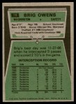1975 Topps #78  Brig Owens  Back Thumbnail