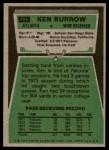 1975 Topps #105  Ken Burrow  Back Thumbnail