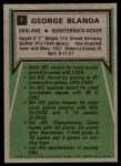 1975 Topps #7   -  George Blanda  Highlights Back Thumbnail