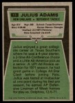1975 Topps #73  Julius Adams  Back Thumbnail