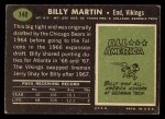 1969 Topps #148  Billy Martin  Back Thumbnail