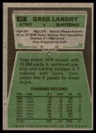1975 Topps #15  Greg Landry  Back Thumbnail