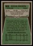 1975 Topps #23  Doug Dieken  Back Thumbnail