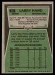 1975 Topps #42  Larry Hand  Back Thumbnail