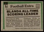 1975 Topps #351   -  George Blanda Record Breaker Back Thumbnail