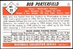 1953 Bowman REPRINT #22  Bob Porterfield  Back Thumbnail