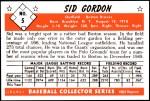 1953 Bowman REPRINT #5  Sid Gordon  Back Thumbnail