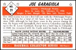 1953 Bowman REPRINT #21  Joe Garagiola  Back Thumbnail