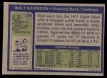 1972 Topps #301  Walt Garrison  Back Thumbnail