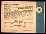 1961 Fleer #15  Sihugo Green  Back Thumbnail