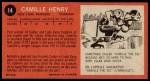 1964 Topps #14  Camille Henry  Back Thumbnail
