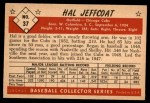1953 Bowman B&W #37  Hal Jeffcoat  Back Thumbnail