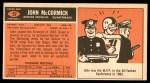 1965 Topps #57  John McCormick  Back Thumbnail