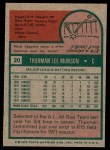 1975 Topps #20  Thurman Munson  Back Thumbnail