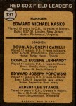 1973 Topps #131 ORG  -  Eddie Kasko / Doug Camilli /  Don Lenhardt / Eddie Popowski / Lee Stange Red Sox Leaders   Back Thumbnail