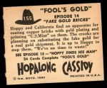1950 Topps Hopalong Cassidy #155   Fake gold bricks Back Thumbnail