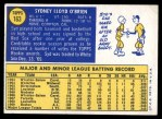 1970 Topps #163  Syd O'Brien  Back Thumbnail