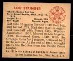 1950 Bowman #187 CPR Lou Stringer  Back Thumbnail