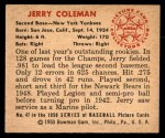 1950 Bowman #47  Jerry Coleman  Back Thumbnail