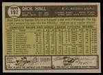 1961 Topps #197  Dick Hall  Back Thumbnail