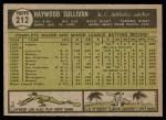 1961 Topps #212  Haywood Sullivan  Back Thumbnail