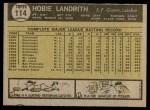 1961 Topps #114  Hobie Landrith  Back Thumbnail