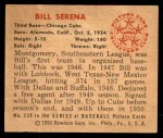 1950 Bowman #230 CPR Bill Serena  Back Thumbnail