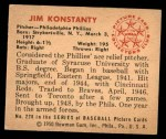 1950 Bowman #226 CPR Jim Konstanty  Back Thumbnail