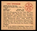 1950 Bowman #187 CPR Lou Stringer  Back Thumbnail
