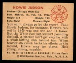 1950 Bowman #185  Howie Judson  Back Thumbnail