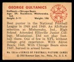 1950 Bowman #136  George Gulyanics  Back Thumbnail