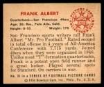 1950 Bowman #36  Frank Albert  Back Thumbnail