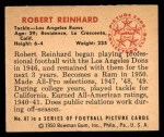 1950 Bowman #87  Robert Reinhard  Back Thumbnail