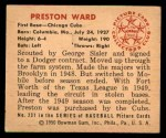 1950 Bowman #231  Preston Ward  Back Thumbnail