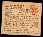 1950 Bowman #200 CPR Kirby Higbe  Back Thumbnail