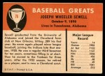 1961 Fleer #76  Joe Sewell  Back Thumbnail