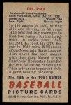 1951 Bowman #156  Del Rice  Back Thumbnail
