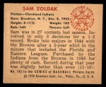 1950 Bowman #182 CPR Sam Zoldak  Back Thumbnail