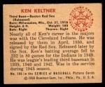 1950 Bowman #186 CPR Ken Keltner  Back Thumbnail