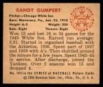 1950 Bowman #184 CPR Randy Gumpert  Back Thumbnail