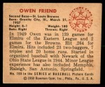 1950 Bowman #189  Owen Friend  Back Thumbnail