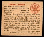 1950 Bowman #238 CPR Vernal 'Nippy' Jones  Back Thumbnail