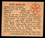 1950 Bowman #221 CPR Don Mueller  Back Thumbnail