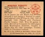 1950 Bowman #181 CPR Marino Pieretti  Back Thumbnail