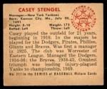 1950 Bowman #217  Casey Stengel  Back Thumbnail