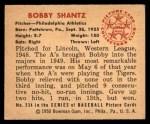 1950 Bowman #234  Bobby Shantz  Back Thumbnail