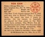 1950 Bowman #236 CPR Bob Cain  Back Thumbnail