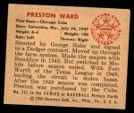 1950 Bowman #231 CPR Preston Ward  Back Thumbnail